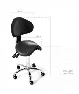 WAVE Black rotary stool with backrest
