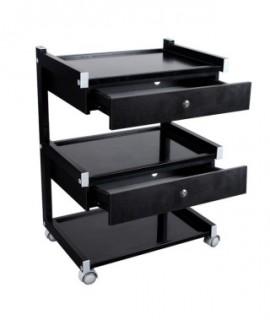 Stolik na kółkach z 3 półkami i 2 szufladami HUMMER Black
