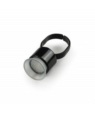 Kubeczki na tusz z gąbką - pierścionek - STERYLNY 10mm / 100szt BLACK