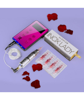 Glovcon Inox Lady V2 + Zasilacz dotykowy GLOVCON SLIM Purple zestaw do makijażu permanentnego