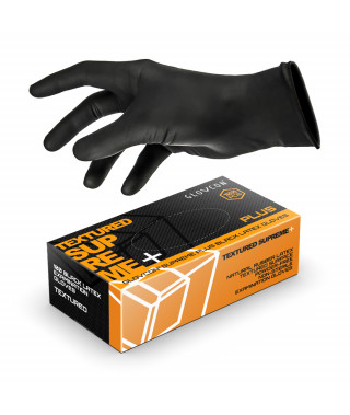 Glovcon Plus textured latex gloves - black - 100 pcs