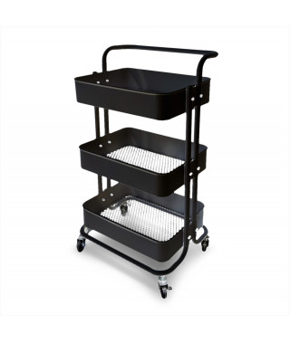 Mobile assistant with 3 shelves - Black