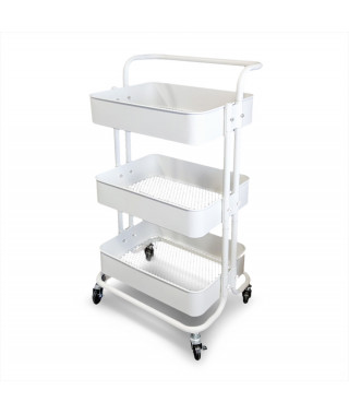 Mobile assistant with 3 shelves - White